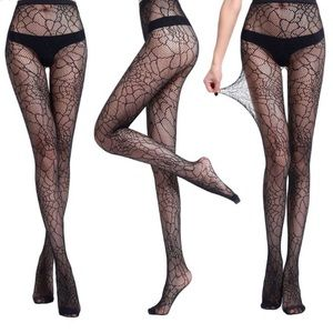 Sexy Black Spiderweb Fishnet Pantyhose Stockings